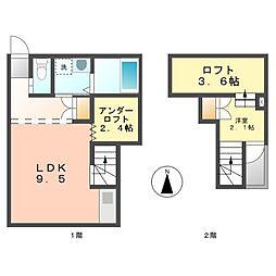 愛知県名古屋市西区笠取町3丁目の賃貸アパートの間取り
