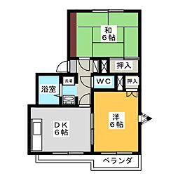 アーバンハイツ八幡 A棟[2階]の間取り