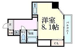 Osaka Metro谷町線 中崎町駅 徒歩5分の賃貸マンション 8階1Kの間取り
