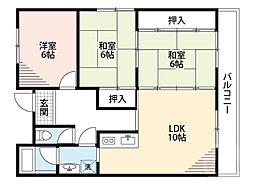 JR東海道・山陽本線 岸辺駅 徒歩22分の賃貸マンション 5階3LDKの間取り