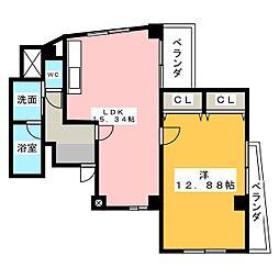 シャトレ東別院[4階]の間取り