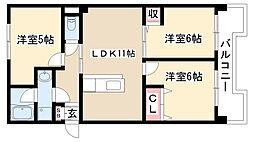 愛知県名古屋市名東区牧の里2丁目の賃貸マンションの間取り