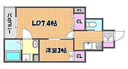 JR山陽本線 岡山駅 バス25分 平井小学校下車 徒歩7分の賃貸アパート 1階1SKの間取り