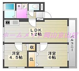 岡山県岡山市北区玉柏の賃貸アパートの間取り