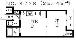 サンプラザ上汐[4階]の間取り