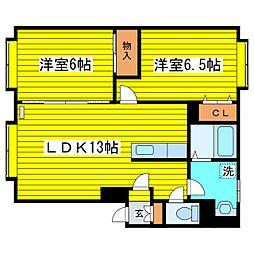 札幌市営東豊線 新道東駅 徒歩7分の賃貸アパート 3階2LDKの間取り