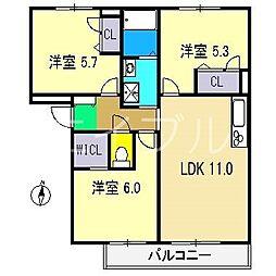 シャーメゾンクレール A棟[2階]の間取り