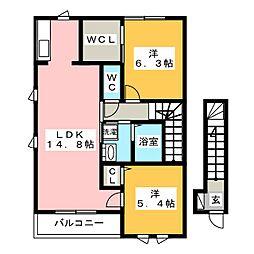 アンソレイユ二日市東E棟[2階]の間取り