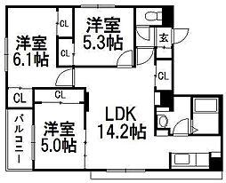 北海道札幌市西区山の手二条2丁目の賃貸マンションの間取り