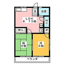 サニーハイツII[1階]の間取り