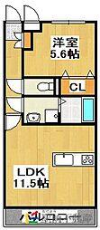ユーミー田隈 3階1LDKの間取り