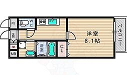 京阪交野線 宮之阪駅 徒歩4分の賃貸マンション 2階1Kの間取り