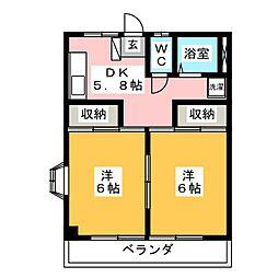 メゾンオチアイB[2階]の間取り