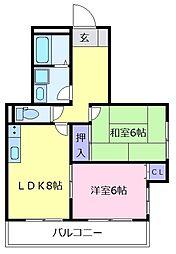B-UPメゾン 3階2DKの間取り