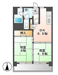中駒九番団地3号棟[9階]の間取り