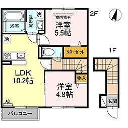 岡山県岡山市東区藤井の賃貸アパートの間取り