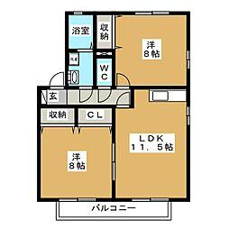 愛知県愛知郡東郷町春木台2丁目の賃貸アパートの間取り