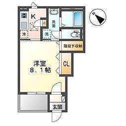 袖ケ浦市袖ヶ浦駅前2丁目新築アパート 1階1Kの間取り