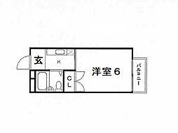 兵庫県神戸市灘区神前町1丁目の賃貸アパートの間取り