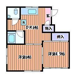 東京都立川市羽衣町3丁目の賃貸マンションの間取り