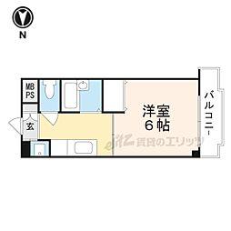 シャトー黒田 6階1Kの間取り