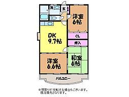 愛媛県松山市居相6丁目の賃貸マンションの間取り