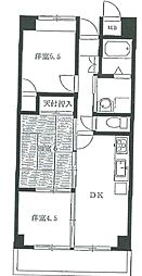 JR青梅線 福生駅 徒歩5分の賃貸マンション 5階3DKの間取り
