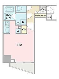 グランピア西新宿 9階ワンルームの間取り