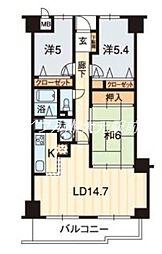 サーパス鹿田[11階]の間取り