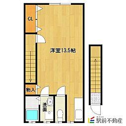 JR鹿児島本線 西牟田駅 徒歩30分の賃貸アパート 2階ワンルームの間取り
