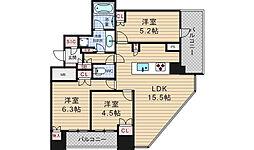 プレミストタワー大阪新町ローレルコート[17階]の間取り