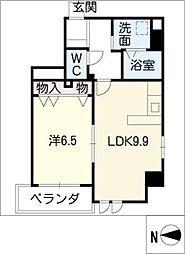 シェルジェ覚王山 4階1LDKの間取り