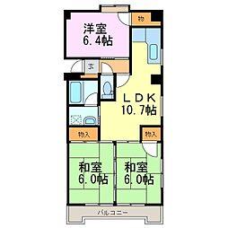 パークビュー雁宿[4階]の間取り
