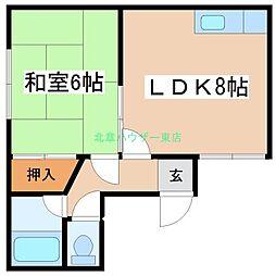 北海道札幌市東区北三十四条東1丁目の賃貸アパートの間取り