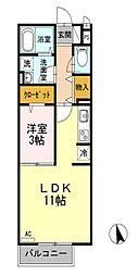 東京都小金井市中町1丁目の賃貸アパートの間取り