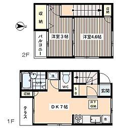 カーサ堀ノ内 1階2DKの間取り