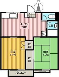 TITハウスB棟[202号室]の間取り