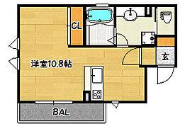 兵庫県神戸市兵庫区松本通6丁目の賃貸アパートの間取り