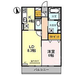 滋賀県甲賀市水口町北泉1丁目の賃貸アパートの間取り