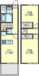 奈良県香芝市上中の賃貸アパートの間取り