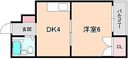 大阪府豊中市箕輪1丁目の賃貸アパートの間取り