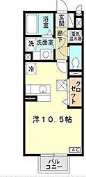 兵庫県神戸市北区山田町小部字戸口谷の賃貸アパートの間取り