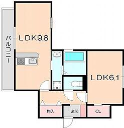 D-room中桜塚1丁目[A202号室]の間取り