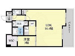 ラナップスクエア大阪城北 8階1LDKの間取り