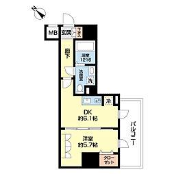 リヴシティ横濱新川町弐番館 9階1DKの間取り