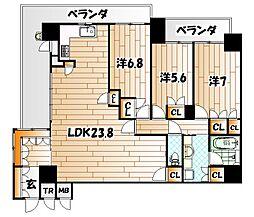 福岡県北九州市八幡東区東田2丁目の賃貸マンションの間取り