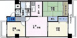 エバーグリーン長居3号棟[7階]の間取り