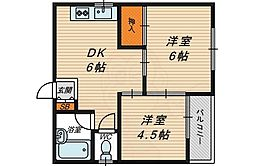 ヴィラ京橋 4階2DKの間取り
