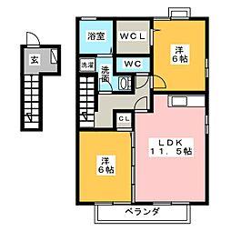 ソレイユ西島A、B[2階]の間取り