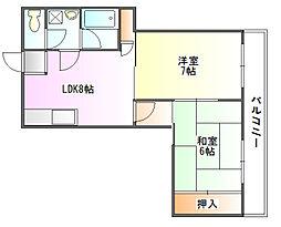 兵庫県三田市中央町の賃貸マンションの間取り